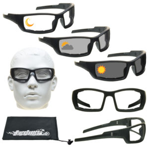 Motorcycle glasses with photochromic lenses