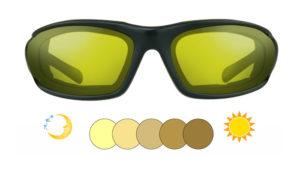 Bikershades Photochromic Motorcycle Sunglasses Yellow to Brown