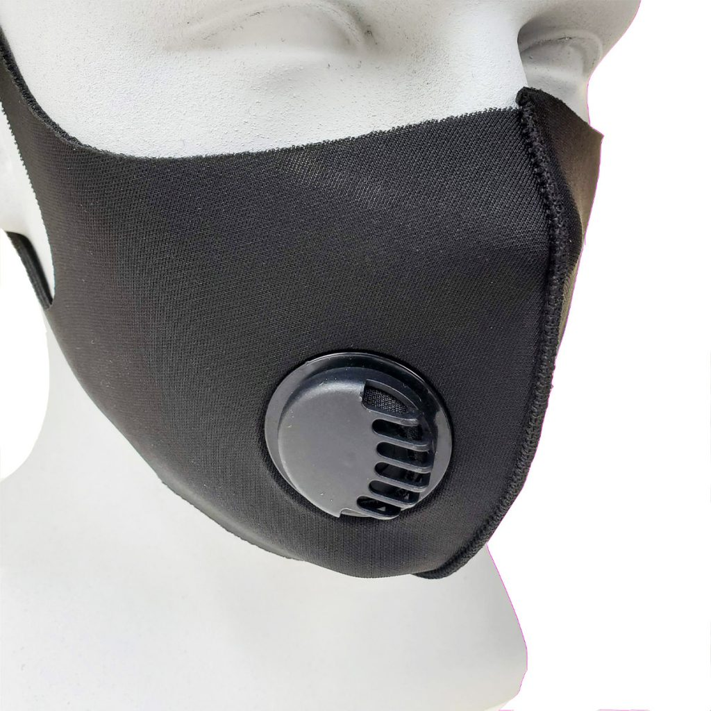 Bikershades Black Reuseable Washable Stretch Material Face Mask with Respirator Ventilator